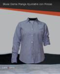 Blusa de vestir manga ajustable 65/35, bolsa frontal izquierda