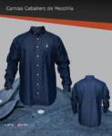 Camisa de vestir en mezclilla 8 oz, bolsa frontal izquierda, botón down